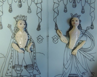 Hand Sculpted King & Queen SET for Door'd Mirror Frame Stumpwork Embroidery