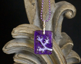 Branch Purple Carved Dichroic Glass Pendant - FREE SHIPPING!