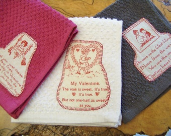 Valentines Day Love Poems Appliqued Wash Cloth Set of 3 in White, Raspberry, and Charcoal Grey