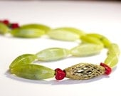 Green Statement Necklace Tribal Brass African Ethnic Boho Beaded Jade Color Stone Red Apple Coral Long