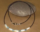 Dainty Rustic Handcrafted - Natural MOTHER Of PEARL And AQUAMARINE Beads - Simple Beaded Necklace - Free U S A Shipping -