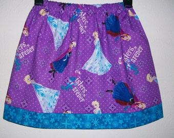 Girls Skirt Frozen Skirt Anna and Elsa Purple Skirt with Snowflakes toddler skirt twirl skirt Frozen dress Frozen Party Princess Skirt