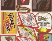 150 old Vintage SODA, BEVERAGE LABELS Etc..