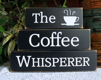 Coffee Whisperer Shelf Sitter Blocks Sign Kitchen Home Decor Coffee Lover Stacking Blocks