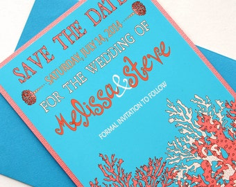 Coral Reef Tropical Beach Destination Wedding Save the Date