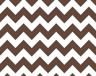 SALE Chevron Medium Stripe Brown Cotton Fabric