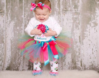 Baby Girl 1st Birthady Outfit - Cupcake Birthday Tutu Set - First Birthday Cake Smash Outfit - Birthday Girl Dress