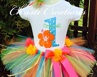 Baby Girl 1st Birthday Outfit - Hawaiian Luau Tutu Set - Grass Skirt - Floral Headband - Luau Birthday Party Outfit