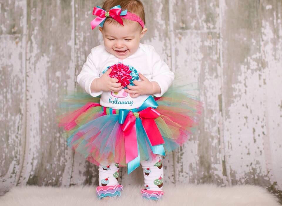 Baby Girl 1st Birthady Outfit Cupcake Birthday Tutu Set