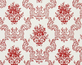 1950's Vintage Wallpaper - Red and White Victorian Damask with Red Roses