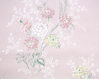 1950's Vintage Wallpaper -Pink White Yellow Flowers on Pink