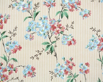 1930s Vintage Wallpaper by the Yard - Antique Floral Wallpaper Pink and Blue Blossoms