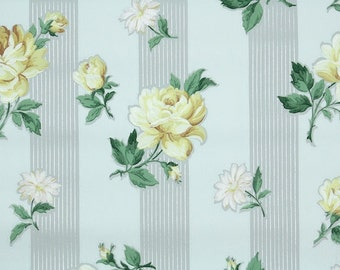 1940s Vintage Wallpaper by the Yard - Floral Wallpaper with Yellow Roses and Daisies on Gray and White Stripe