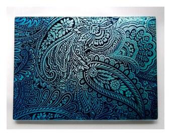 Paisley glass cutting board, Blue paisley glass, paisley gift, Paisley art glass, paisley art, psychedelic art