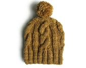 Pom Hat - Pompom Beanie with Cables Knit in Ocher Wool