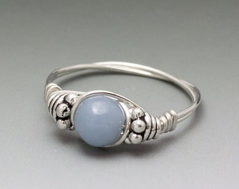 Angelite Celestite Bali Sterling Silver Wire Wrapped Bead Ring - Made to Order, Ships Fast!