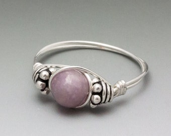 Light Lepidolite Bali Sterling Silver Wire Wrapped Bead Ring ANY size
