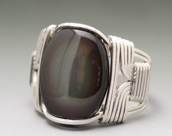 Rainbow Obsidian Cabochon Sterling Silver Wire Wrapped Ring - Made to Order and Ships Fast!