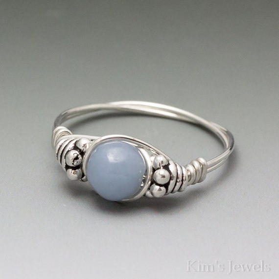 Angelite Periwinkle Bali Sterling Silver Wire Wrapped Ring ANY size