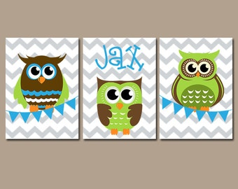 Boy OWL Nursery Wall Art, Canvas or Prints, Personalized Boy Name Artwork, Bedroom Pictures, Bunting Flag Chevron Set of 3 Baby Boy Decor