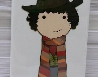 Fourth Doctor kokeshi style Doctor Who scarf refrigerator magnet peg doll illustration fan art