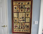Gold Child's Letter to Santa Quilted Wall Hanging or Table Runner