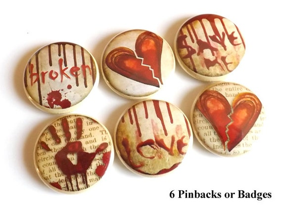 Heart Broken Love PINBACK BADGES button pins stocking stuffer emo goth macabre divorce party favor magnet wedding shower valentine halloween