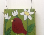Red Bird Painting Mini Wooden Block Sale