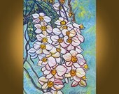 Art Painting Original Painting -- Rainforest Orchids -- 16 x 22 inch painting by Elizabeth Graf -- READY to HANG