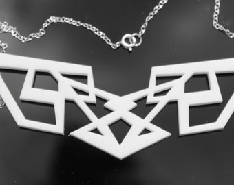 White Geometric Necklace Transformers Laser Cut Acrylic Perspex on Sterling Silver Chain