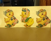 Vintage Die Cut Cardboard 2 Easter Chicks and a Duck #9 Epsteam