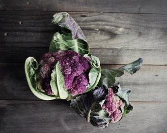 Still Life Photography - rustic kitchen - farmhouse food still life - purple green - dark gray wood - Purple Cauliflower