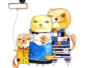 Family portrait, cat, cats, illustration, family illustration