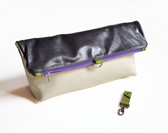 Leather Foldover Clutch / Oversized Clutch / Toiletry Bag - The Lulu Travel Foldover Clutch in Dark Slate Grey and Cream