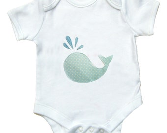 Whale Babygro - Polka Dots / Bodysuit / Boys Baby Clothes / Baby Shirt / All in One / Romper / New Baby