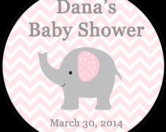30 Round Personalized Baby Shower Stickers  1.5  Inch Size   ELEPHANT - PINK