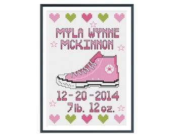 Converse Girl Birth Announcement Cross Stitch Pattern Instant Download