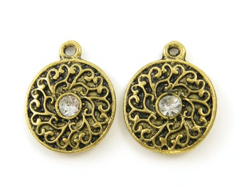 Antique Gold Clear Rhinestone Ornate Round Earring Findings Pendant Charms |G2-1|2