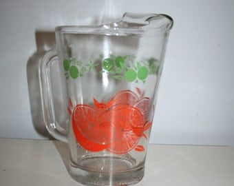 Vintage Glass Water Pitcher with Orange and Lime Design