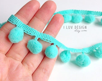 "Aqua Pom Pom Trim • Wholesale Pom Pom 1/2"" • Fringe 1"" (18 Yards) Sewing • DIY Crafting • Hair Accessory • Packaging • Pom Pom Fringe"
