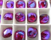 4 Siam Glacier Blue Swarovski Crystal Square Cushion Cut Stone 4470 12mm