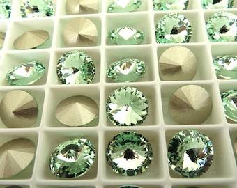 6 Chrysolite Foiled Swarovski  Rivoli Stone 1122 12mm