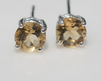 Citrine Earrings , Yellow Stud Earrings , Citrine Post Earrings , November Birthstone Gift, Gemstone Earrings  by Maggie McMane Designs