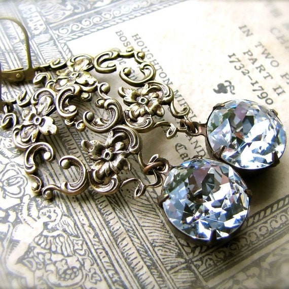 Swarovski Crystal Marie Antoinette Earrings, Antique Style Jewelry, Vintage Style Jewelry, Sparkly Earrings, Dangle Earrings