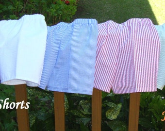 Summer and Spring Shorts for Boys or Girls Seersucker Stripe