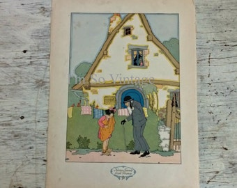 1927 double sided Nursery Friends from France print