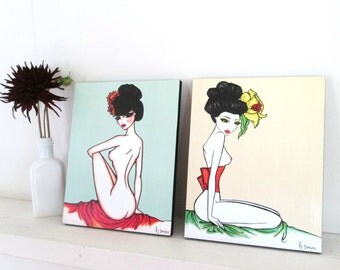 Pinup girl set - Wall Decor by Brenda Dunn - Set of 2 prints on wood blocks, nudes, geishas, bedroom decor, home decor, japanese, bathroom