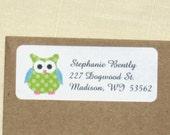 Green Polka Dot Owl Address Labels -  Return Address Labels - Personalized Owl Labels - 90 Labels