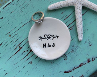 Engagement Ring Dish with Hearts, Double Heart Design Engagement Ring Dish, Personalized Mini Ring Dish, Engagement Ring Dish with Initials