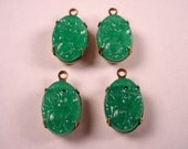 4 Vintage Jade green  Glass floral  molded carved Oval Cabochons prong brass  setting 14x10